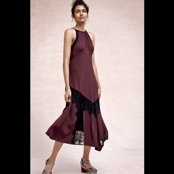 Anthropologie Dresses Nwt Burgundy Lace Maxi Halter Dress Poshmark
